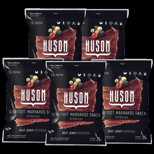 HUSOM TÖRTBORSOS szárított marhahús snack (beef jerky csomag, 5x25g)