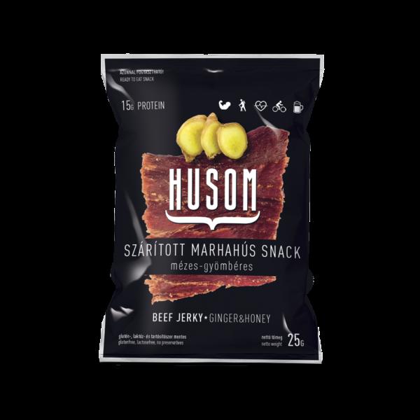 HUSOM MÉZES-GYÖMBÉRES szárított marhahús snack (beef jerky) 25g